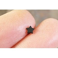 Tiny Black Star Cartliage Earring Tragus Helix Piercing