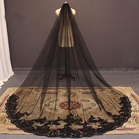 Gothic Cathedral Veil w/Sequins & Lace