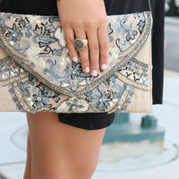 The Crown Jewels Embroidered & Bejeweled Foldover Clutch