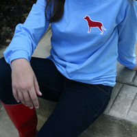 Preppy Long Sleeve T Shirt With Dog Applique