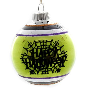Shiny Brite HALLOWEEN DEC ROUNDS REFLECTOR. Spiders Spooky Ornament 4027670 Green Web