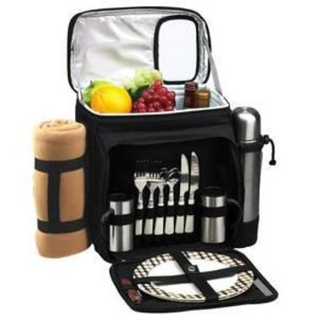 Picnic & Coffee Basket Cooler for 2 with Blanket -Black/London