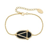 Onyx & Lab-Created White Sapphire 14k Gold Over Silver Oval Link Bracelet
