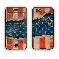 The Scratched Surface Peeled American Flag Apple iPhone 6 LifeProof Nuud Case Skin Set