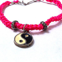 Hot pink crocheted anklet with yin yang charm textile jewelry fabric anklet