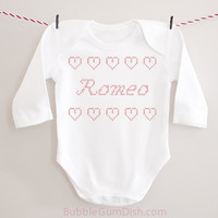 Romeo Faux CrossStitch Hearts Valentine Valentine's Day Outfit Long Sleeved Baby Bodysuit Onepiece Toddler Outfit Valentine Shirt