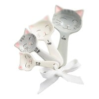 Cat Shaped Ceramic Measuring Spoons - White and Gray