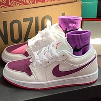 NIKE Air Jordan 1 Low AJ1 Low top basketball shoes White&Purple hook