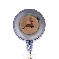 Deer Badge Holder with Retractable Reel, Badge Holder, Personalized Badge Holder, Corporate Gifts