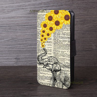 iPhone 6 case, phone wallet, Elephants, Sunflower, iPhone 5S case, Samsung Note3, S5, leather cover, iPhone 6 plus, Phone cover  -071
