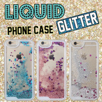 Fashion Glitter Sparkle Liquid Quicksand Star Heart Pink Hard Phone Case Cover Coque Fundas For iPhone 6 6S 6Plus 5 5S 7 7Plus