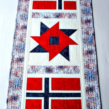 Quilted Patriotic Table Runner, Norway May 17th, Norwegian National Day, Red White Blue, Norwegian Flag, Table Quilt, Quiltsy Handmade
