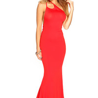 Red One Shoulder Strappy Design Open Back Sexy Maxi Dress