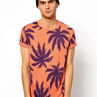 River Island T-Shirt with All Over Palm Print