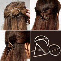 2016 New Brand Hairpins Star Moon Triangle Hair Pin Fine Jewelry Hairgrips Hair Clip For Women Hair Accessories