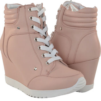 Women Fashion Shoes High Top Ankle Boots Wedge Sneakers Hidden Heels Lace Up