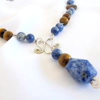 Boho chic necklace, sodalite and tigeres eye artisan tribal necklace, statement jewelry