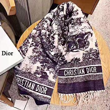 DIOR Autumn And Winter Fashion New Letter Print Tassel Scarf Keep Warm Women No Box