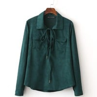 Chemise Femme Harajuku Vintage Casual Tunic Hippie Boho Green Flannel Suede Thick Spring Autumn Shirt Women Blouses Ladies Tops