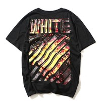 OFF WHITE Short Sleeve Print Stripes T-shirts [11501029580]