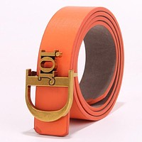 Samplefine2 DIOR Fashion Women Chic Metal Buckle Multicolor Leather Belt Orange