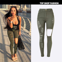 Distressed Army Green Ripped Jeans
