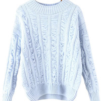 Blue Long Sleeve Ripped Knitted Sweater