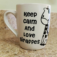 Ceramic Coffee Tea CoCo Vinyl Mug Custom Personalized Giraffe Mug Hearts White Black Unique Keep Calm Love Giraffes Birthday Gift