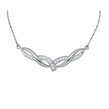 10kt White Gold Round Diamond Twist Bar Fashion Pendant Necklace 1/3 Cttw