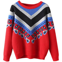 Ethnic Chevron Knit Long Sleeve Pullover Sweater