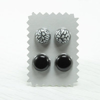 Black White Stud Earrings - Set of 2 - Two Pairs of Stud Earrings - Black Studs - Hypoallergenic Earrings Set - Modern Summer Fashion 2013