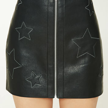 Faux Leather Zip-Up Mini Skirt