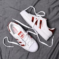 """Adidas"" Superstar Shell toe Bright red Casual Sneakers"