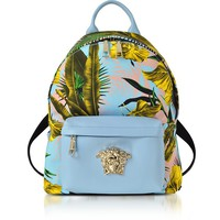 Versace Jungle Print Cotton and Nappa Leather Palazzo Backpack