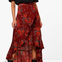 Lauren Woven Floral Frill And Wrap Midi Skirt | Boohoo