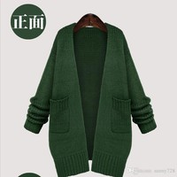 Hottest ! Dark Green Long Knitted Sweaters Fashion Loose Long Sleeve Pockets Long Knitted Cardigans Women Sweater Coats Spring and Fall