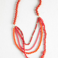 ModCloth Boho Pep It Up Necklace in Sunrise Red