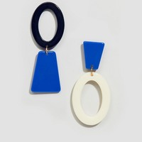 Glamorous blue abstract mis-matched earrings at asos.com