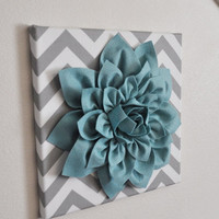 """MOTHERS DAY SALE Wall Flower -Dusty Blue Dahlia on Gray and White Chevron 12 x12"""" Canvas Wall Art- Baby Nursery Wall Decor-"""