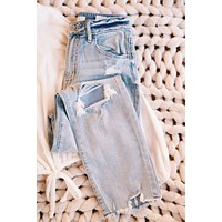 Ally High Rise Straight Crop Jean, Honey Light