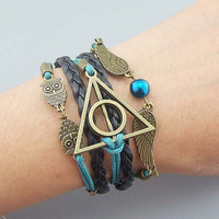 Silver/Bronze Harry Potter Bracelet Harry Potter jewelry Snitch Wings Owls Deathly hallows charm Customized bracelet Black leather Teal rope