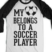 My Heart Belongs to A Soccer Player (Baseball Tee)-T-Shirt