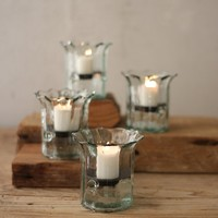 Recycled Glass Mini Ribbed Votive Cylinder (Set of 4)