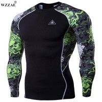 WZZAE Men's Fitness Clothing 2017 New Arrival O-Neck Long Sleeve 3D T Shirt Men MMA T-shirt Tattoo Muscle Man Compression Shirt