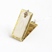 Antique 10k Gold Filled & Silver B.P.O.E Elk Lodge Fraternity Locket Fob - Antique Art Deco Hello Bill Pendant Necklace Jewelry FMCO Finberg