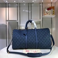 LV Louis Vuitton MEN'S MONOGRAM DENIM  KEEPALL 50 HANDBAG TRAVEL BAG