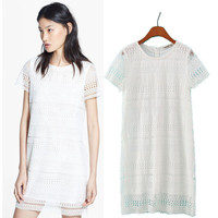 Stylish Round-neck Short Sleeve Lace Hollow Out Women's Fashion One Piece Dress [5013111364]