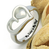 "Double Heart Sister Ring, Promise Ring ""My Sister is My Half"" Engraved on Inside Best Gift for Sister"
