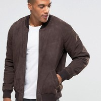 ASOS Suede Bomber Jacket in Brown at asos.com