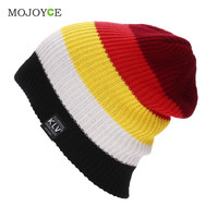 Men Women Beanies Gorros Striped Rainbow Colors Knitted Hats Hat for Women Gorro Knit Cap SN9